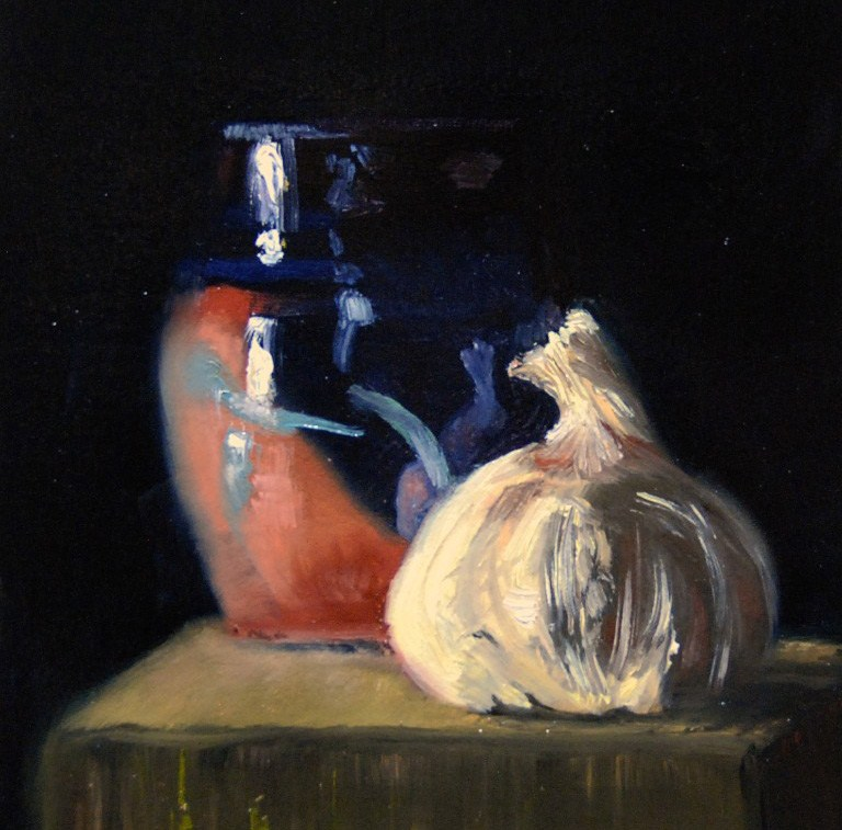 """Small Vase with Garlic"" original fine art by Garry Kravit"