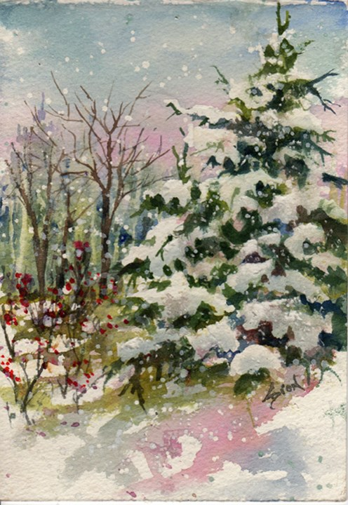 """Evergreens and Winterberries"" original fine art by Sue Dion"