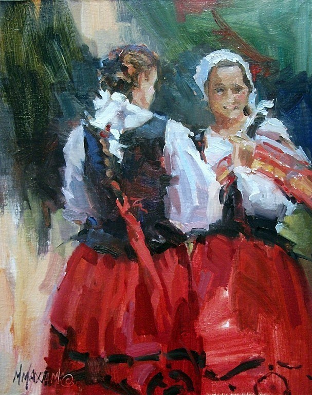 """Two Basque Dancers"" original fine art by Mary Maxam"
