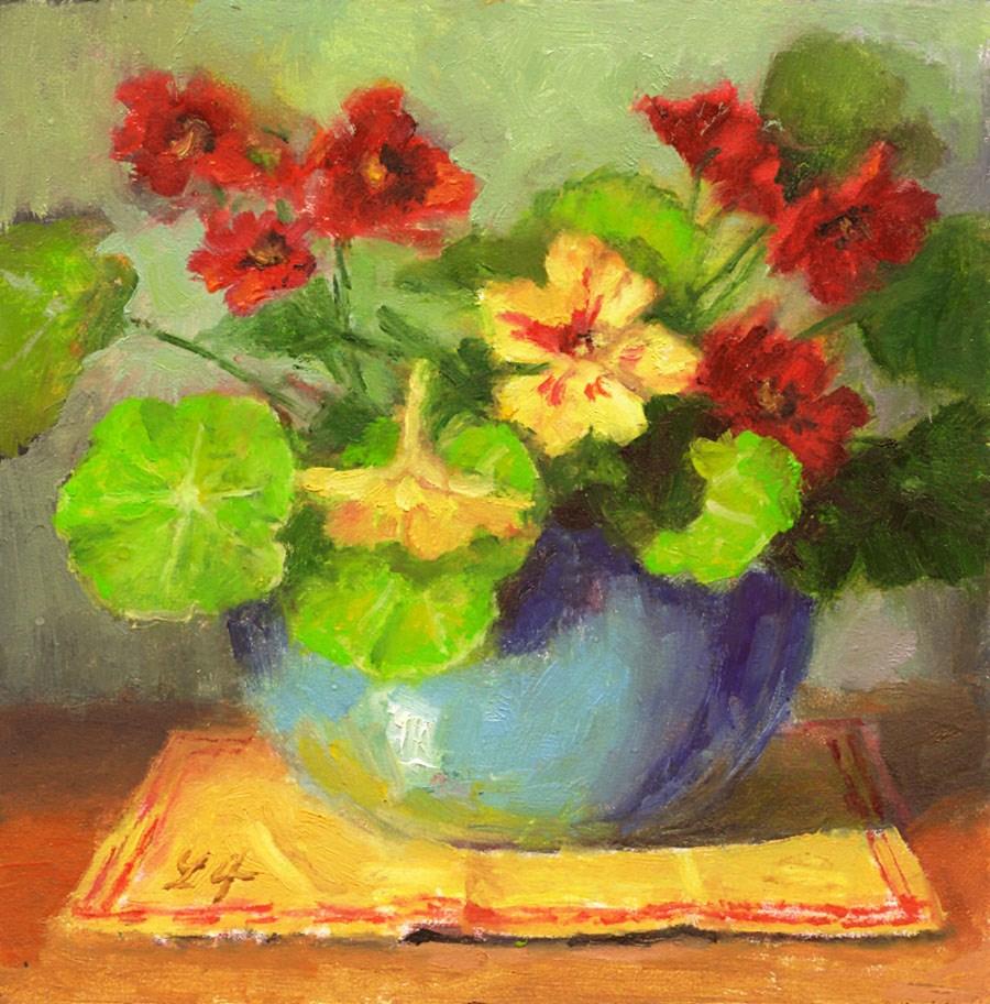 """""""Nasturtium"""" original fine art by Linda Jacobus"""
