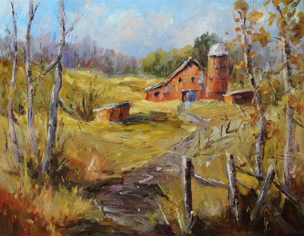 """Original midwest Indiana barn landscape meadow oil painting"" original fine art by Alice Harpel"