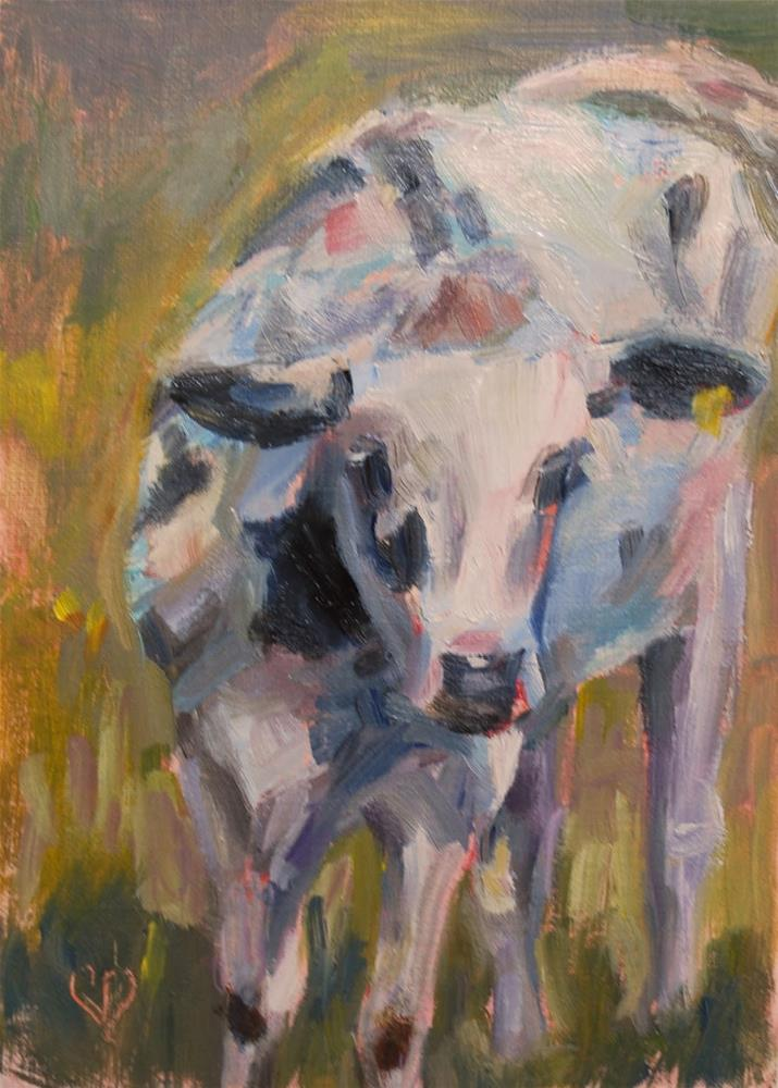 """Holstein Cow - Original Oil by Carol DeMumbrum"" original fine art by Carol DeMumbrum"