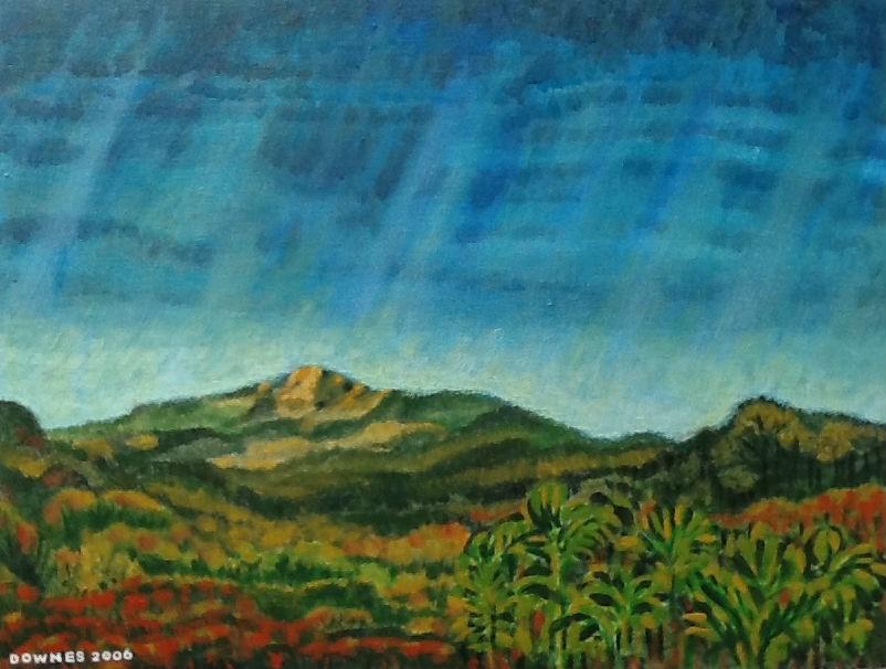 """277 GLASSHOUSE MOUNTAINS 14"" original fine art by Trevor Downes"