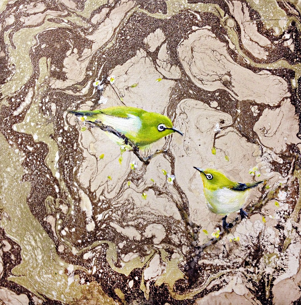 """Japanese White Eye Birds"" original fine art by Sunny Avocado"