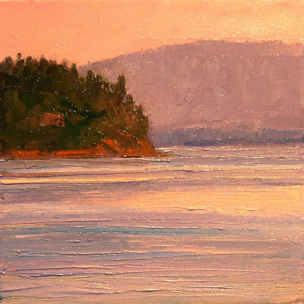 """Island Evening Magic,seascape,oil on canvas,8x8,Price$300"" original fine art by Joy Olney"