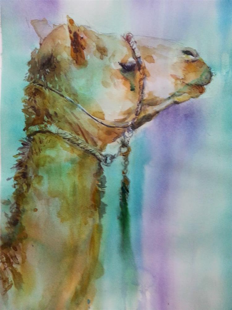 """Al Ain Camel Racetrack 7/7"" original fine art by Midori Yoshino"