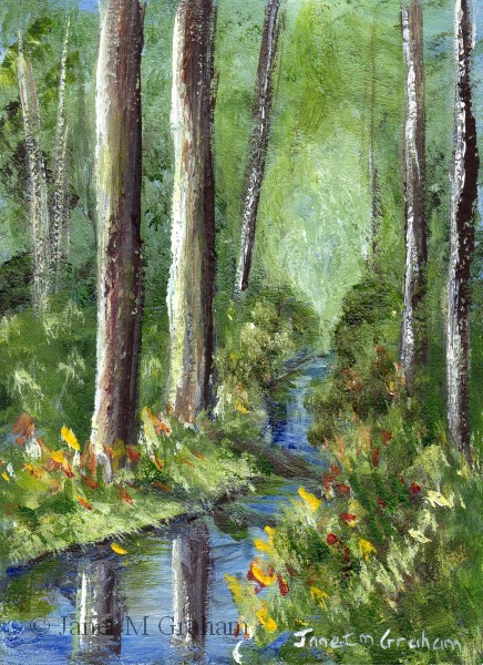 """Tranquil River ACEO"" original fine art by Janet Graham"