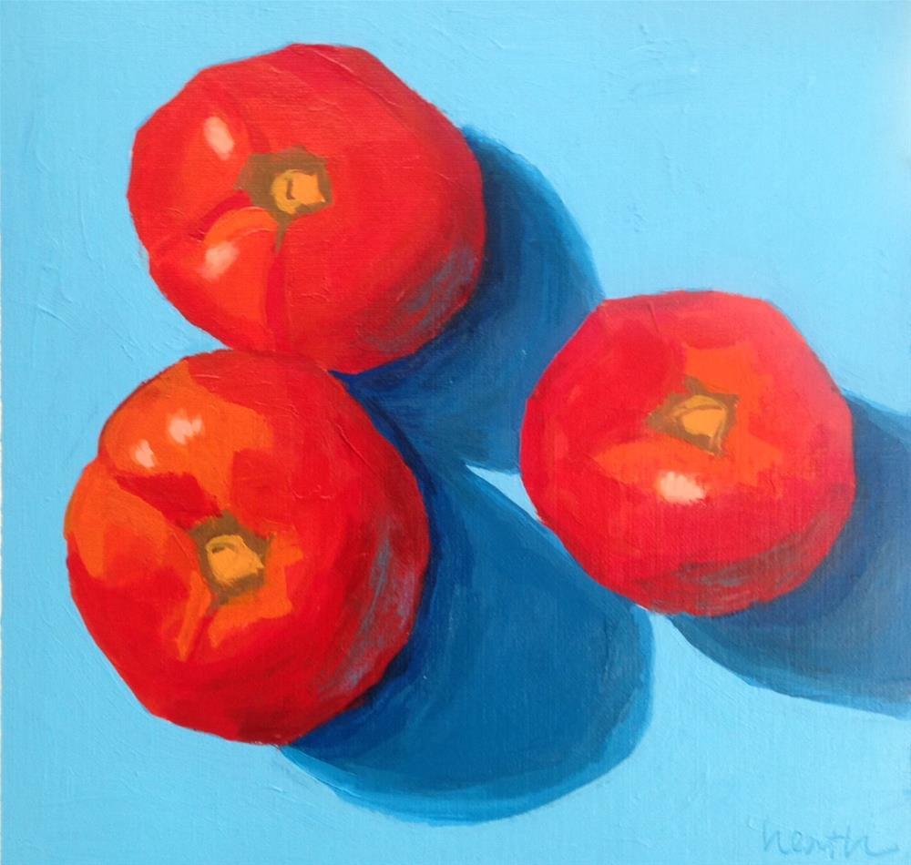"""Three Tomatoes"" original fine art by Bobbi Heath"