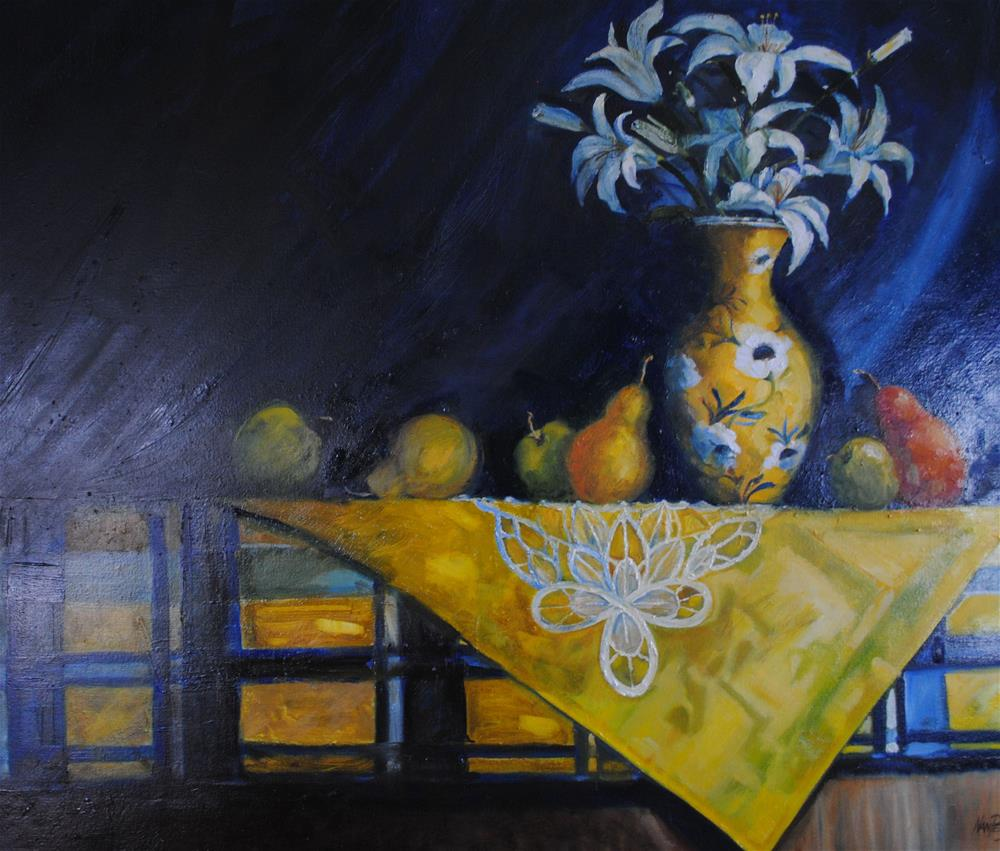 """Lilies"" original fine art by Nan Perry"