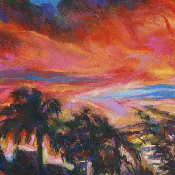 """ORANGE + PALMS - 6 x 6 landscape pastel by Susan Roden"" original fine art by Susan Roden"