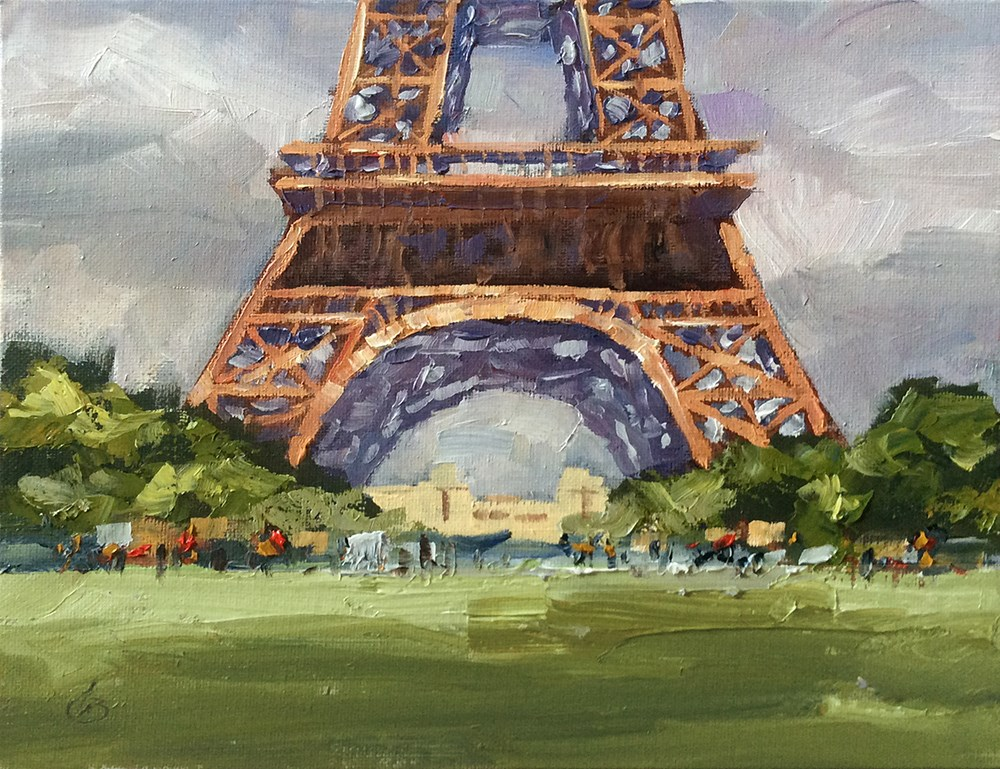 """EIFFEL TOWER, PARIS"" original fine art by Tom Brown"