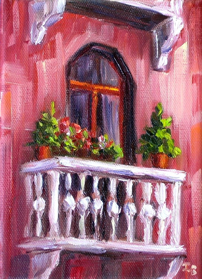 """Balcony challenge"" original fine art by Irina Beskina"
