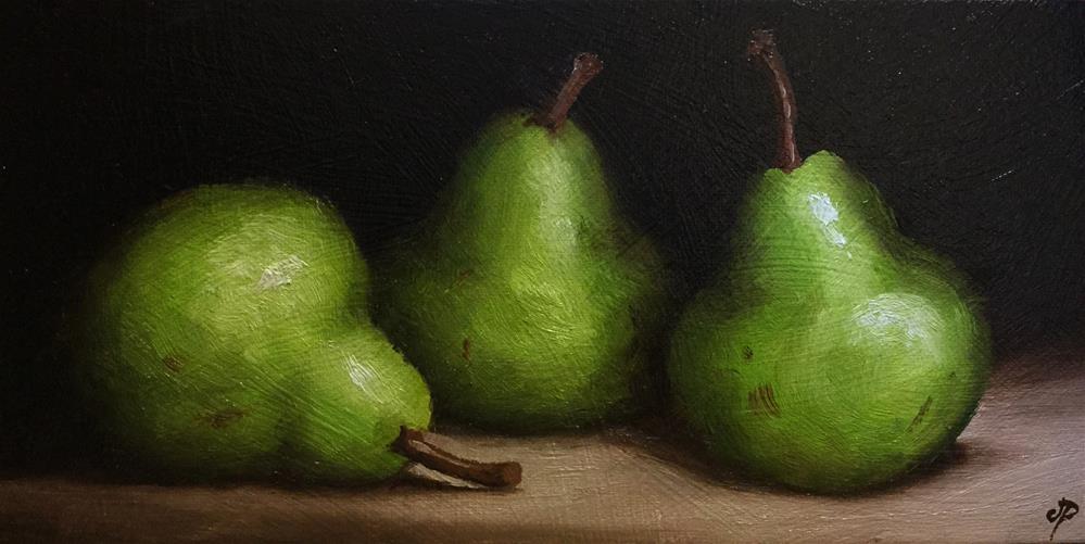 """Three pears"" original fine art by Jane Palmer"