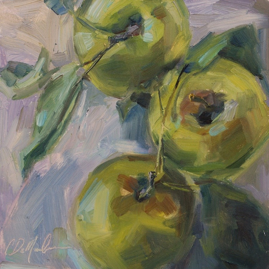 """Green Apple Still life, Original oil by Carol DeMumbrum"" original fine art by Carol DeMumbrum"