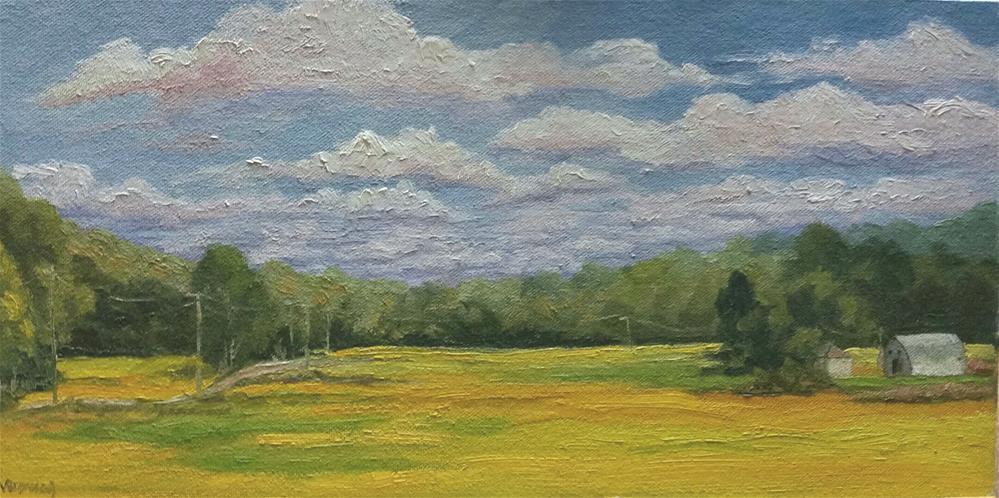 """Clouds over the bean fields-en plein air"" original fine art by Veronica Brown"