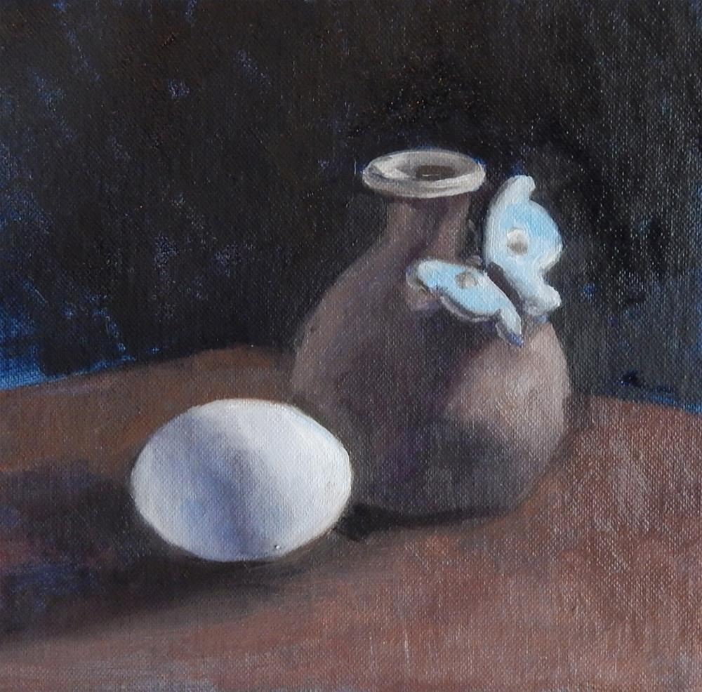 """Vase With Butterfly and Egg"" original fine art by Megan Schembre"