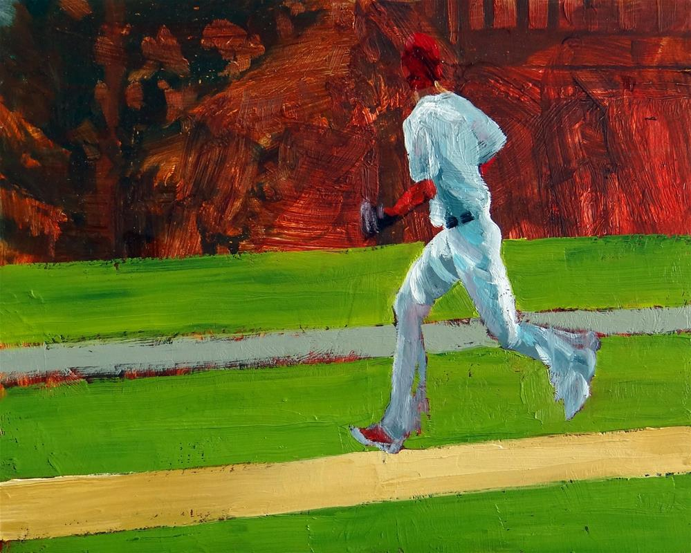 """World Series, Pop Fly"" original fine art by Nancy Paris Pruden"