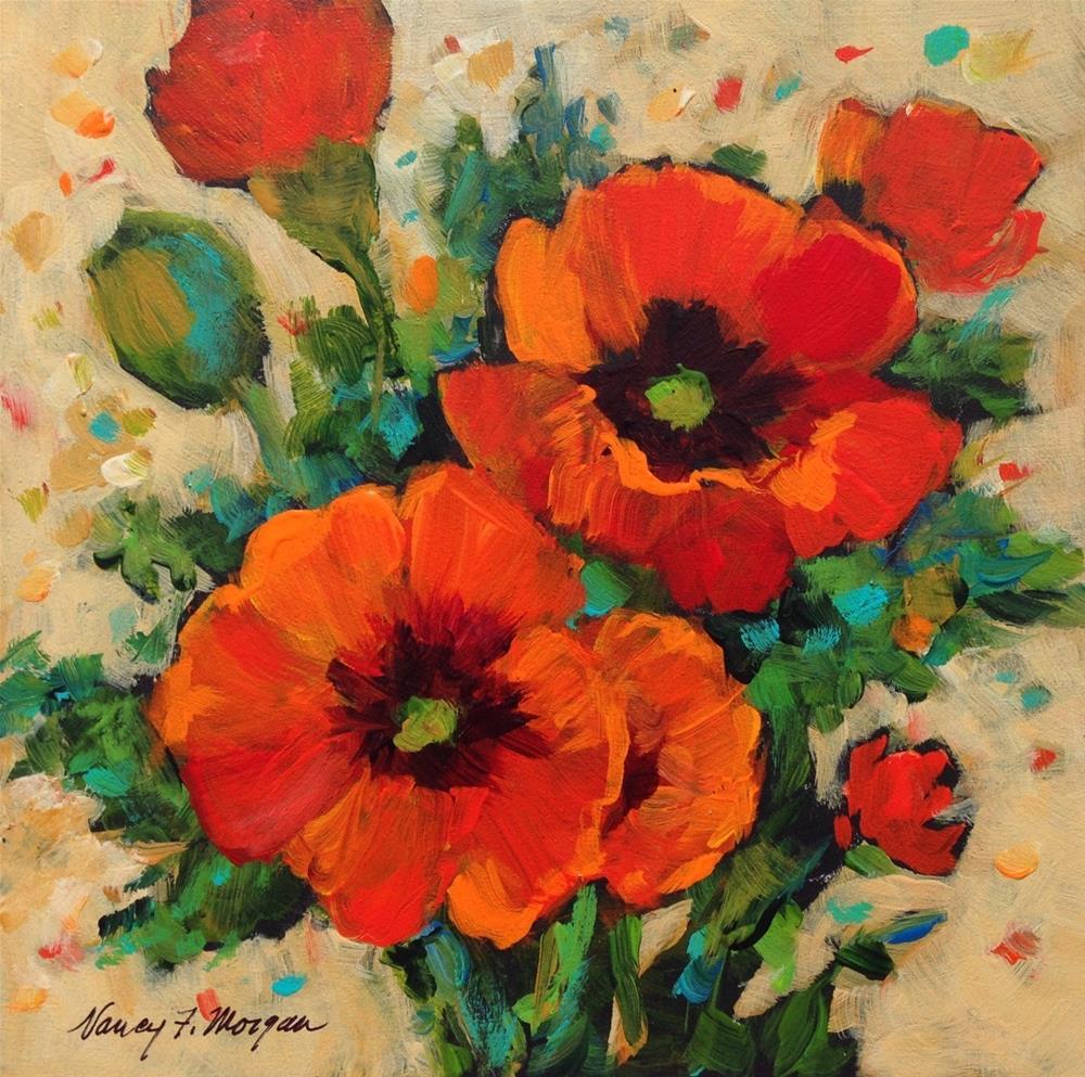 """Tuesday Poppies"" original fine art by Nancy F. Morgan"