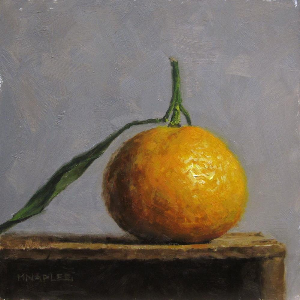 """Single Tangerine with Leaf"" original fine art by Michael Naples"