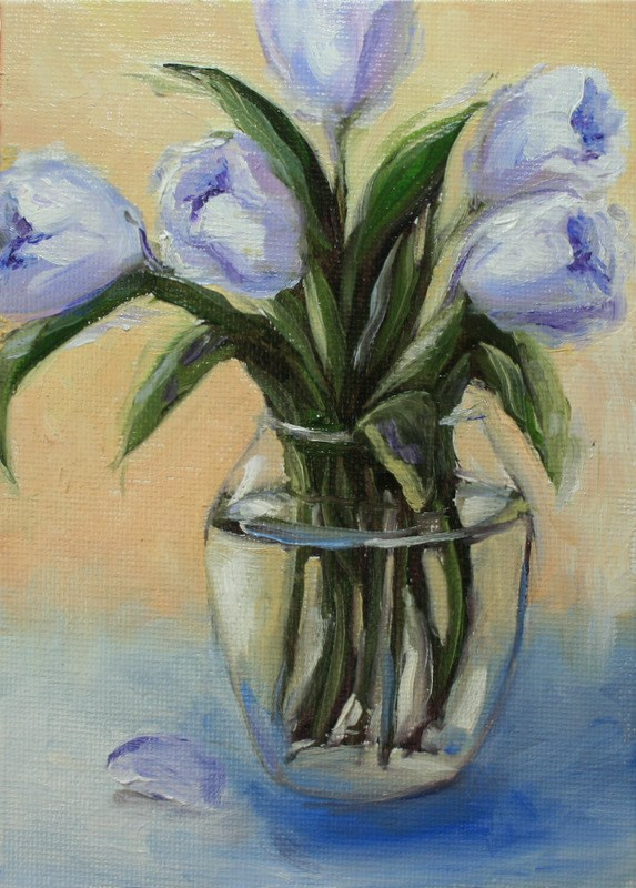 """Lilac Tulips"" original fine art by Jean Nelson"