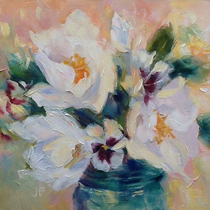 """White Camillias and Pansies"" original fine art by Jean Fitzgerald"