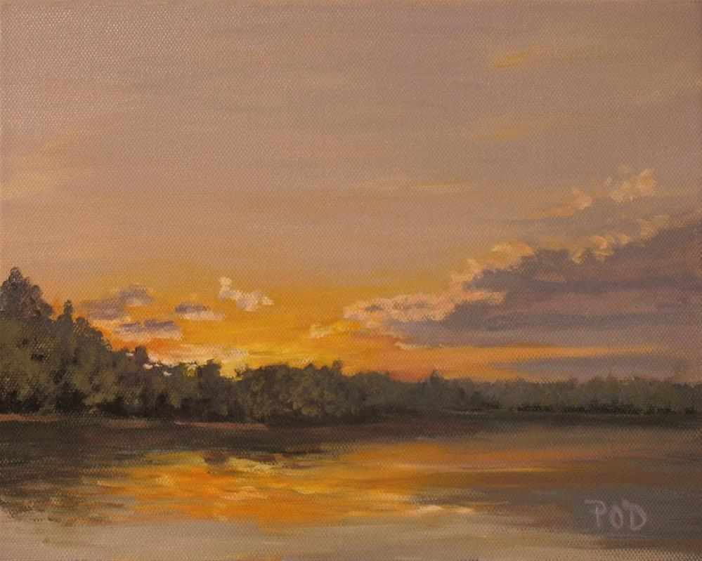 """""""Sunset over the Lake"""" original fine art by Patrick O'Driscoll"""
