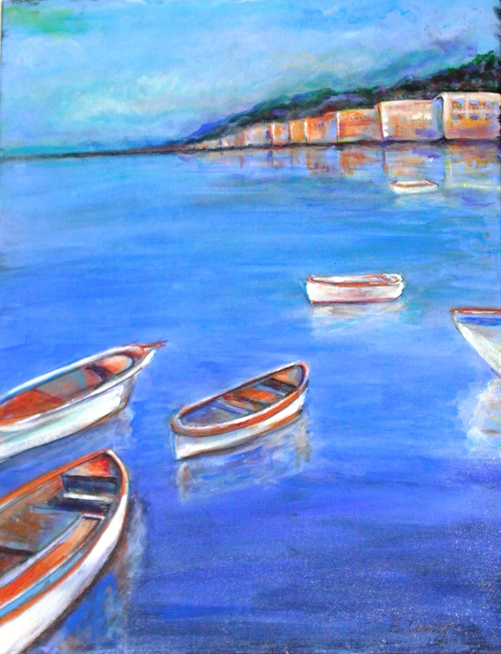 """Boats in Terra Cotta"" original fine art by Barbara Lemley"