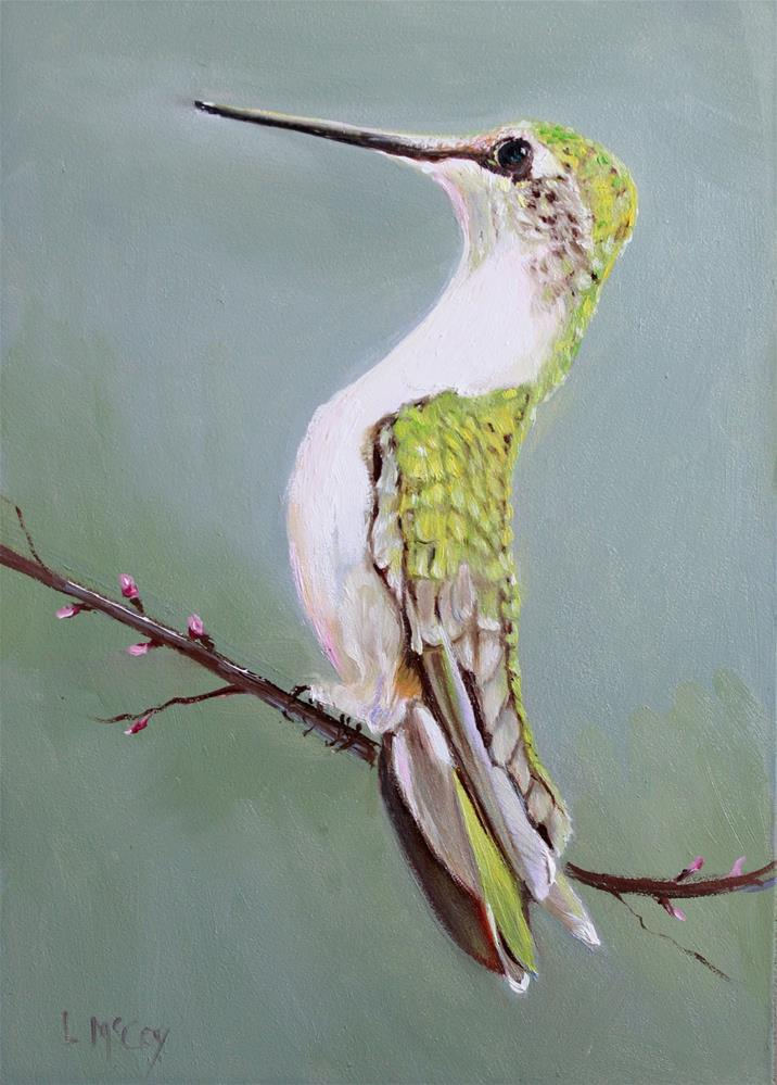 """Poise, Hummingbird Oil Painting"" original fine art by Linda McCoy"