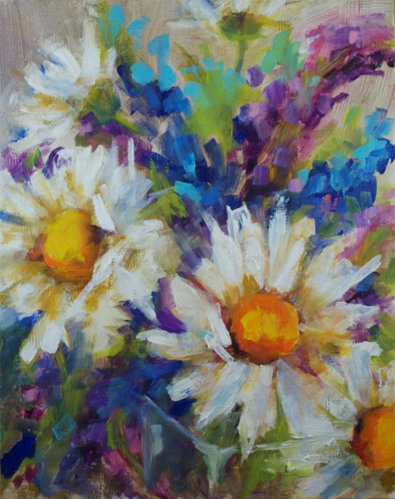 """""""Daisies and Butterfly Bushes"""" original fine art by Sue Churchgrant"""