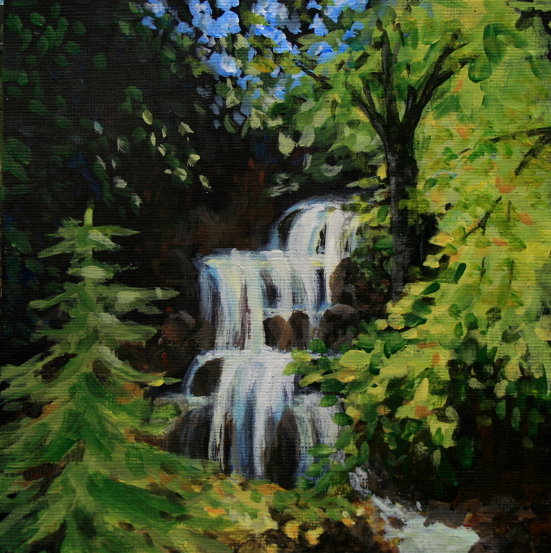 """Little Creek Falls"" original fine art by Jean Nelson"