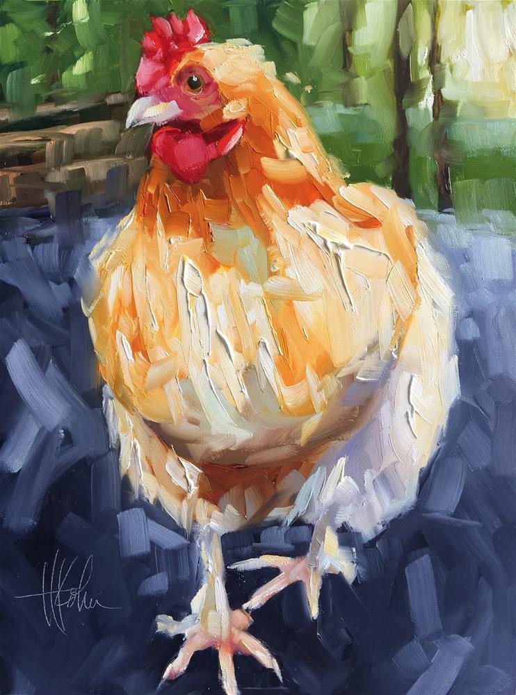 """""""Chicken"""" original fine art by Hallie Kohn"""