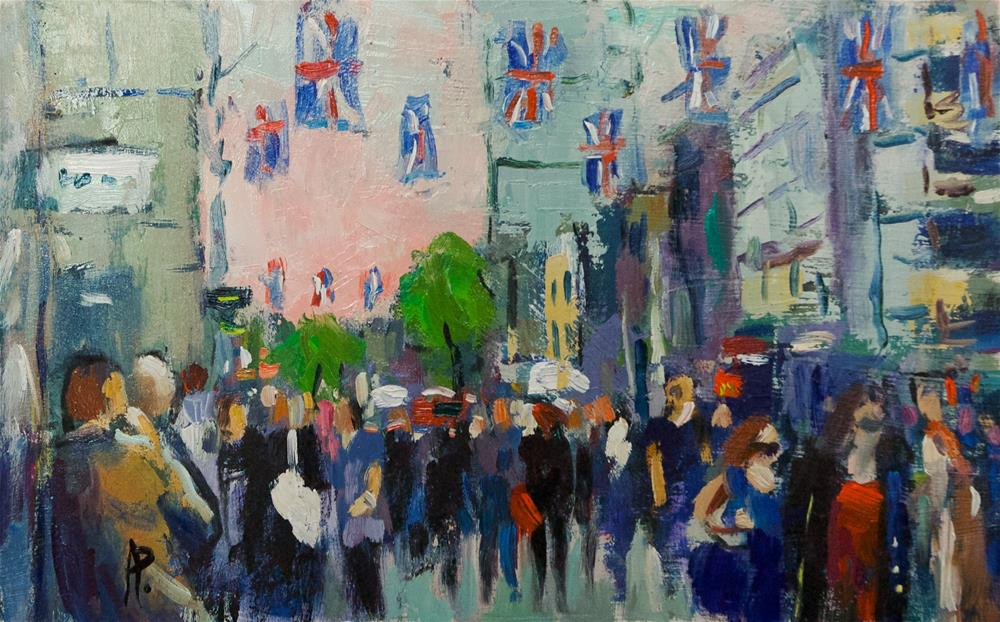 """""""Oxford Street with Flags"""" original fine art by Andre Pallat"""