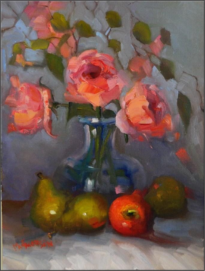 """""""Les Fruits et Fleurs, 12x16, oil on linen, coral, mardi gras roses, apples, pears, floral art, Mar"""" original fine art by Maryanne Jacobsen"""