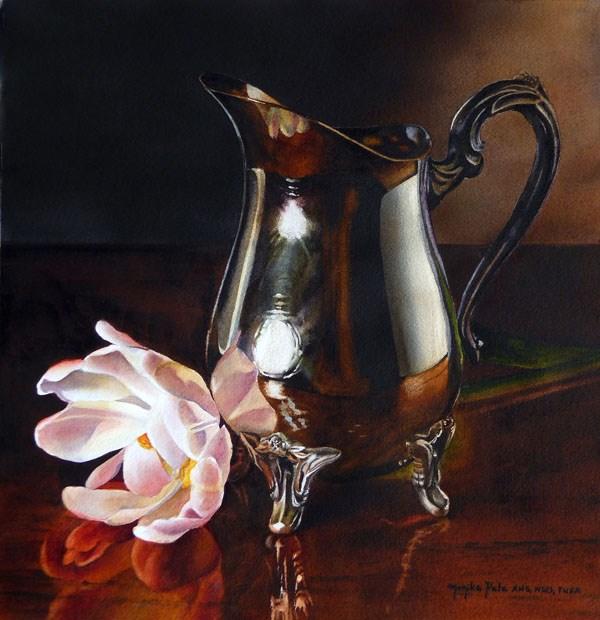 """Silver and Tulip"" original fine art by Monika Pate"