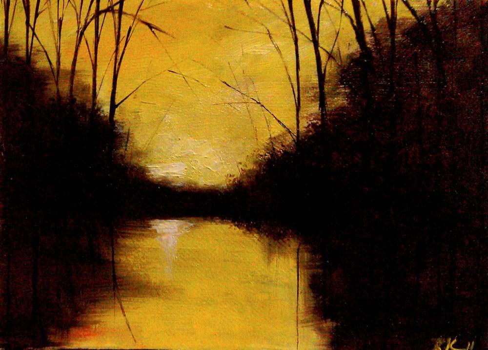 """""""Dark Woods Around the Lake"""" original fine art by Bob Kimball"""
