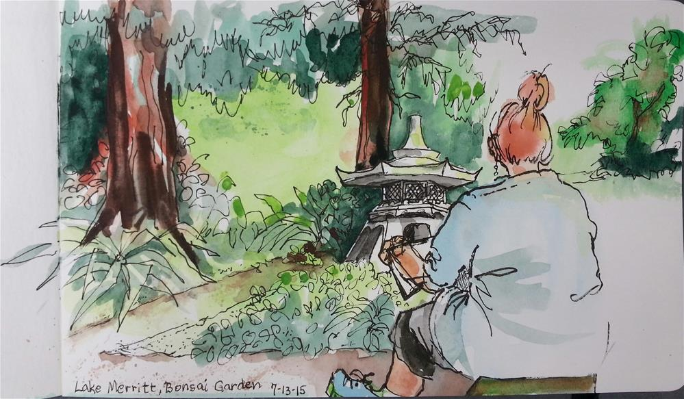 """Sketcher in the Garden"" original fine art by Geri Graley"