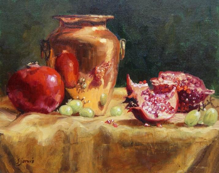 """Pomegranates and Copper Urn"" original fine art by Susan N Jarvis"