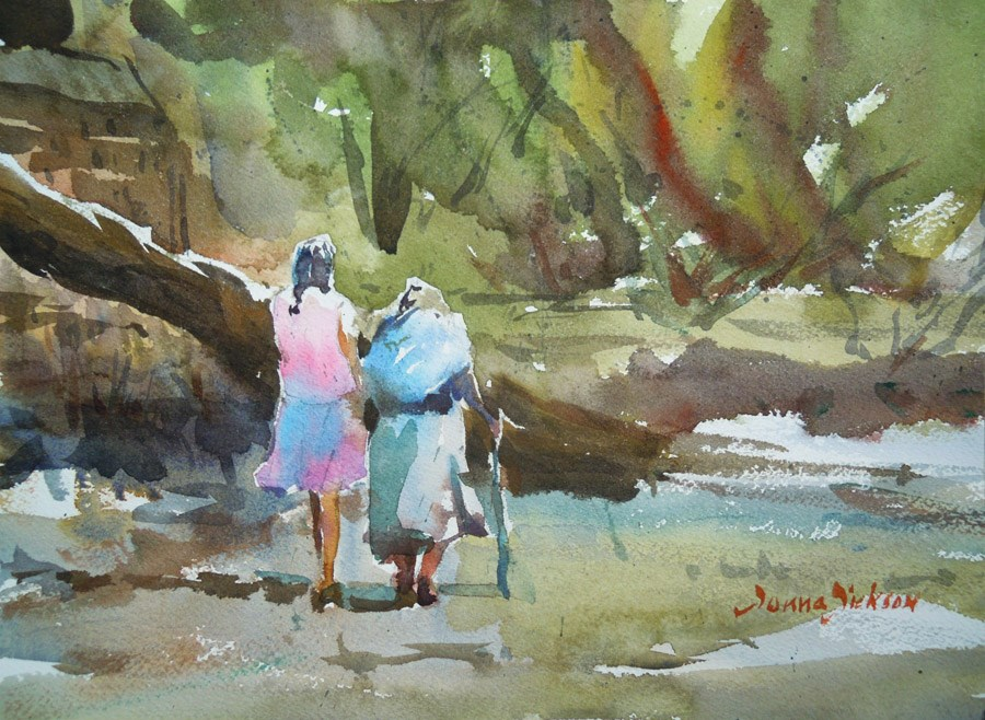 """""""WALKING IN THE CAMPO"""" original fine art by Donna Dickson"""