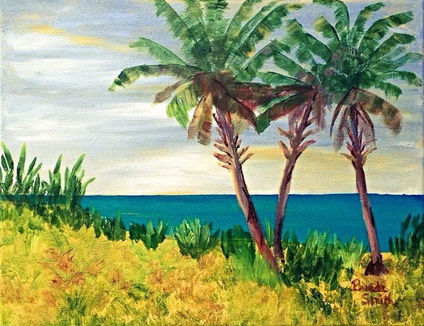 """Peeking through Palms"" original fine art by Brenda Smith"