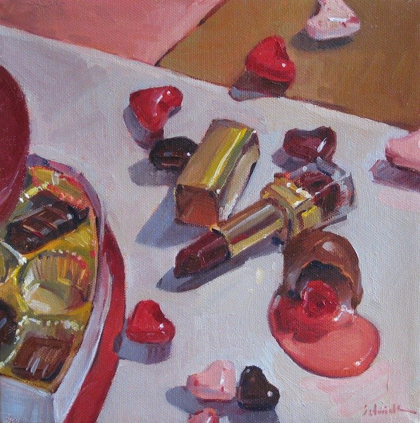"""Sweet Romance art painting of valentines day candy and chocolate"" original fine art by Sarah Sedwick"
