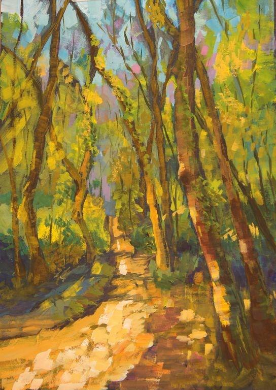 """Sunlight Through the Woods"" original fine art by Marion Hedger"