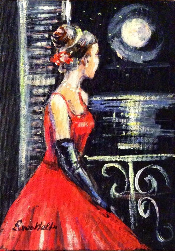"""Lady in red painting"" original fine art by Sonia von Walter"