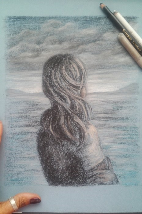 """""""Girl Alone"""" original fine art by Camille Morgan"""