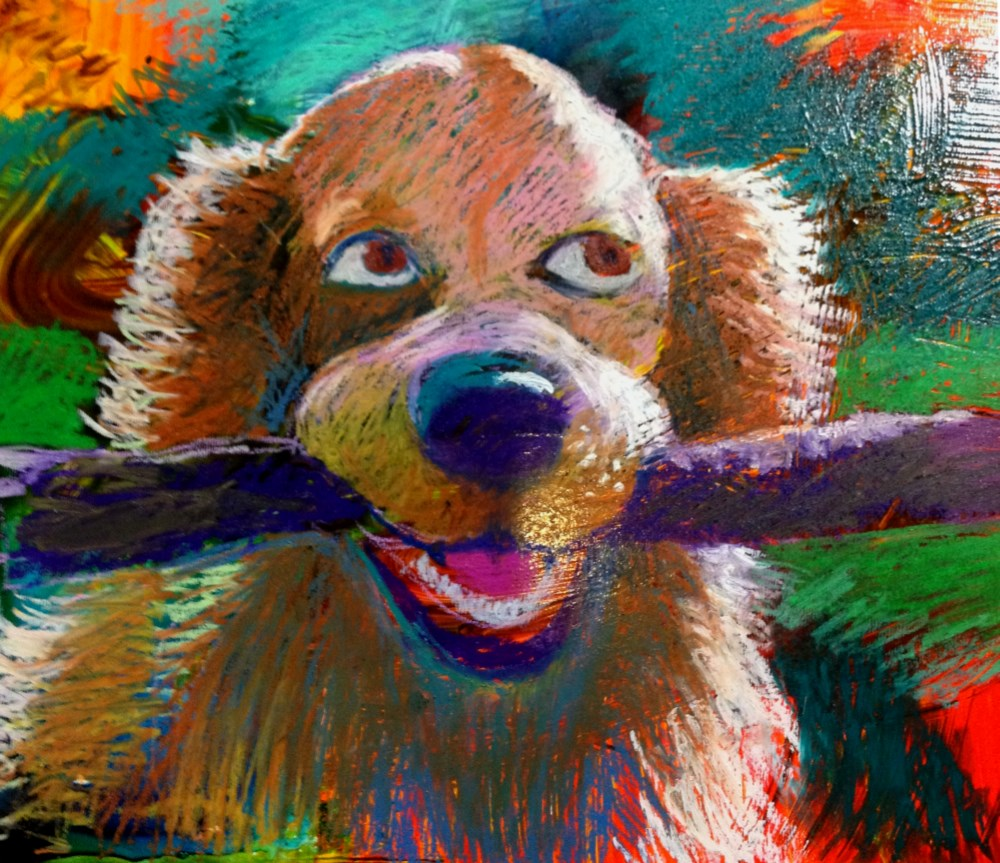 """Want my stick?"" original fine art by Jeff Leedy"
