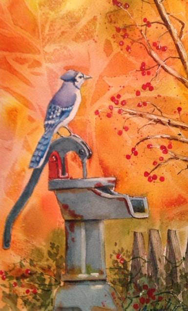 """Blue Jay on Water Pump"" original fine art by Margie Whittington"