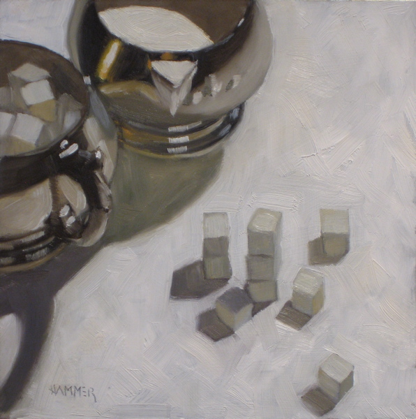 """Sugar & Cream and the kids 6x6 oil"" original fine art by Claudia Hammer"