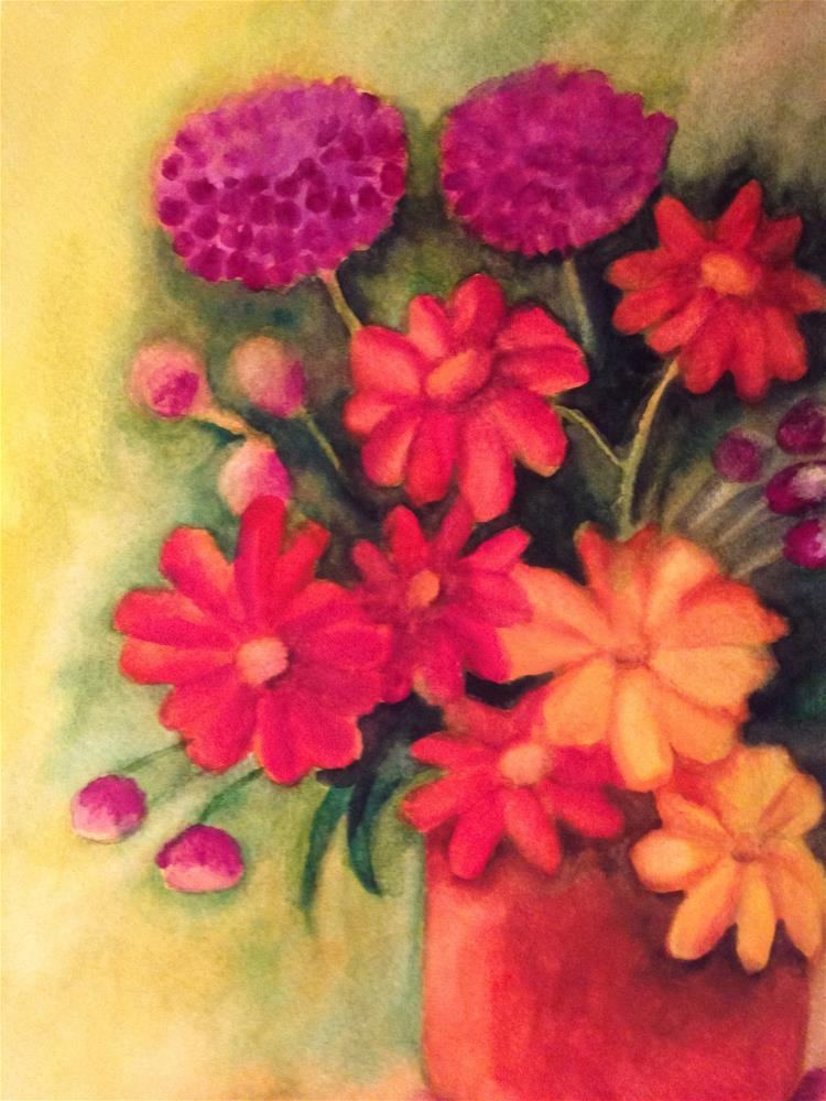 """Daisies, Tulips and Geraniums"" original fine art by Giovanni Antunez"