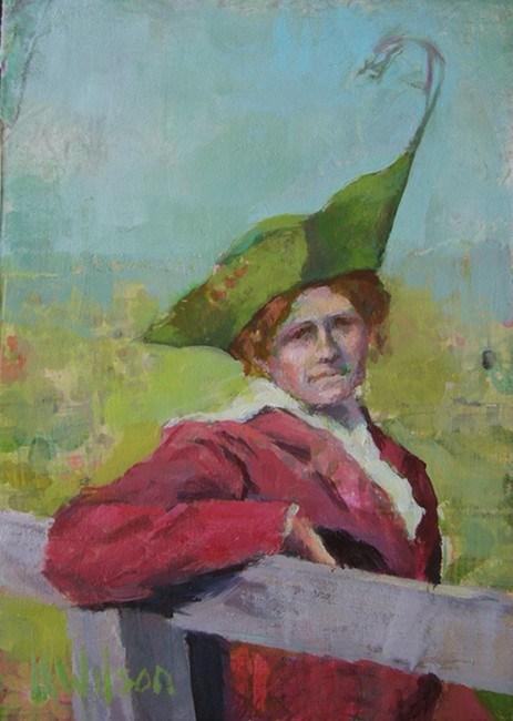 """Long Feather Hat"" original fine art by Katie Wilson"
