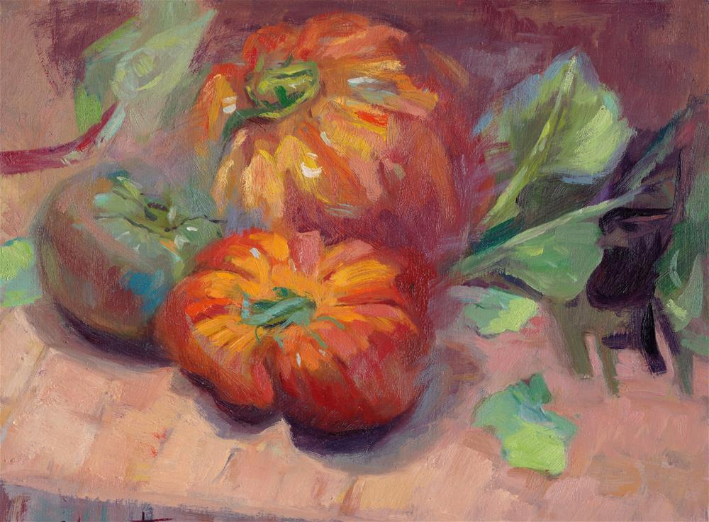 """Plump Robust Heirloom Tomatoes"" original fine art by Ann Buenaventura"