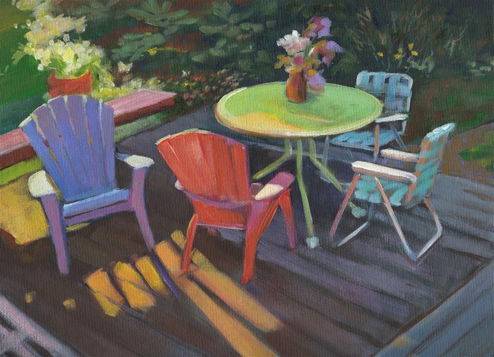 """Patio Chairs"" original fine art by Susan Suraci"